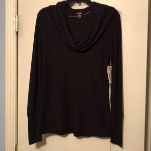 A.N.A. Black long sleeve cowl neck top